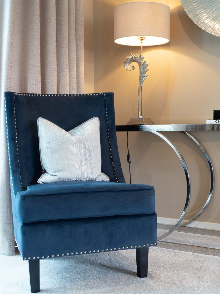 Blue Suede Chair