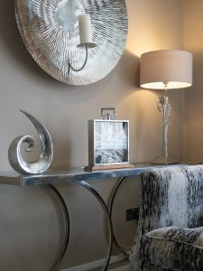 Side Table with Lamp and Clock