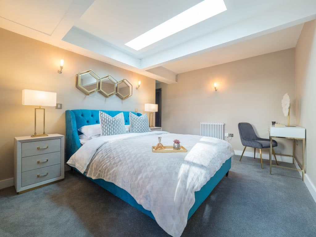 Modern Neutral and Blue Bedroom